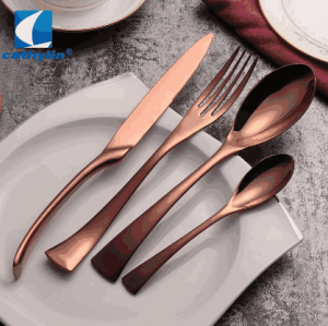 Wholesale modern 18/10 high quality hotel metal flatware stainless steel matte black cutlery set