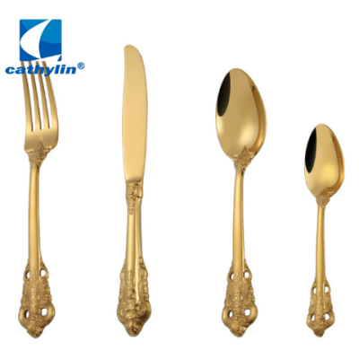 New product high quality italian matte gold plated flatware , banquet hotel cutlery set