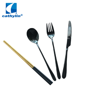 Black Gold Cutlery Set Bulk 4Pcs Flatware Set With Korean Stainless Steel Chopsticks and Spoon