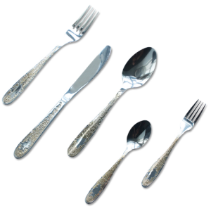 5pcs Enamel Flatware 18/10 Stainless Steel Sliver and Gold Plated Cutlery Set For Hotel Restaurant