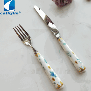 Flower pattern ceramic handle hotel cutlery set, stainless steel flatware