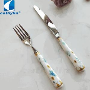 Flower pattern ceramic handle hotel cutlery set, stainless steel flatware