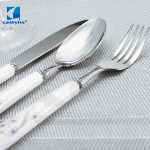 Odorless flora ceramic round handle stainless steel spoon fork cutlery sets