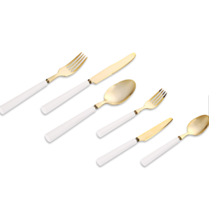 High quality products ceramic handle genuine gold plating metal cutlery set