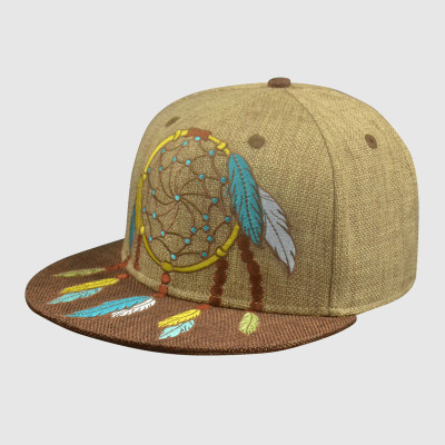 Linen 6 Panel Snapback Hat with Embroidery