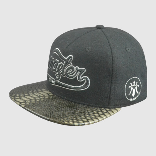 Leather Brim 5 Panel Embroidery snapback Hats/Caps