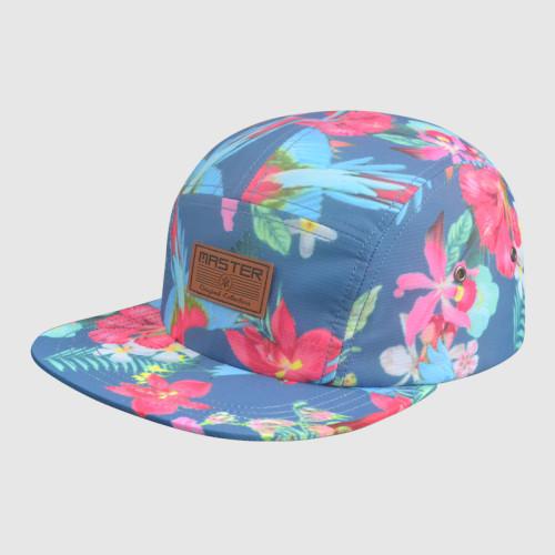 Colorful 5 Panel Printing snapback Hats/Caps with PU Badge