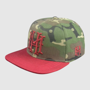 100% Polyester Camo Printing Snapback Hats with 3D Embroidery