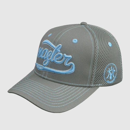 6 Panel Gray Embroidery Stretch-fit Cap