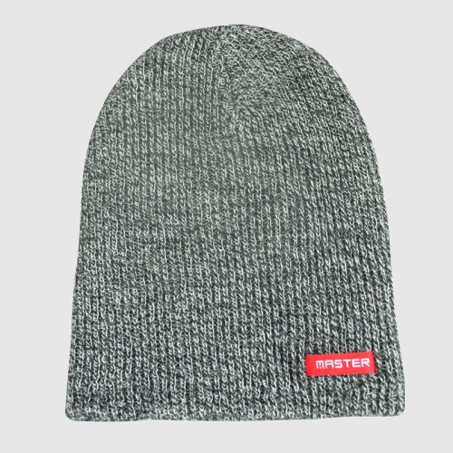 Gray Knitted Beanie With Woven Label