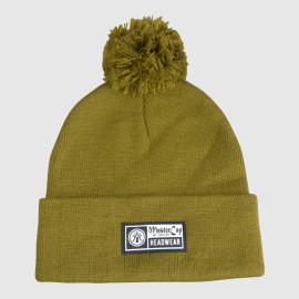 Green Knitted Kraft Beanie With Woven Label