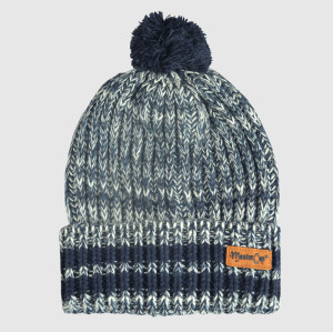Knitted Kraft Beanie With Leather Badge and Bobble