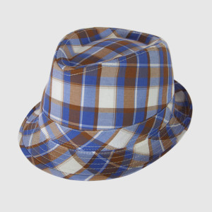 Ckeck Gingham Cotton Fedora Hat