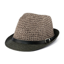 Brown Straw Hat With Black Brim