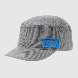 Gray Corduroy Army Cap With Applique