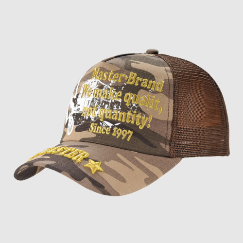 Printing Trucker Cap With Golden Embroidery