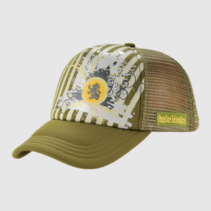 Green Printing Trucker Cap With Woven Badge