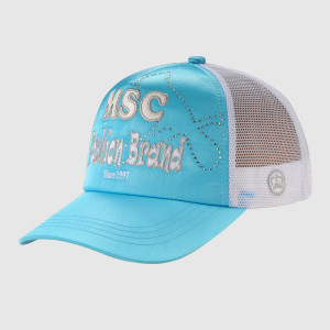Light Blue Embroidery Trucker Cap with Rhinestone