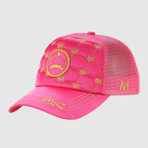 Pink Embroidery Trucker Cap with Plastic Strap