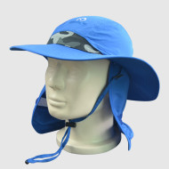 Blue Functional Hat with Embroidery