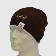 Hollow Knit Beanie With Woven Label