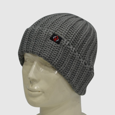 Gray Crochet Beanie With Woven Label