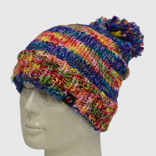 Colorful Crochet Beanie With Bobble