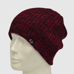 Red/Black Knit Beanie with Woven Label