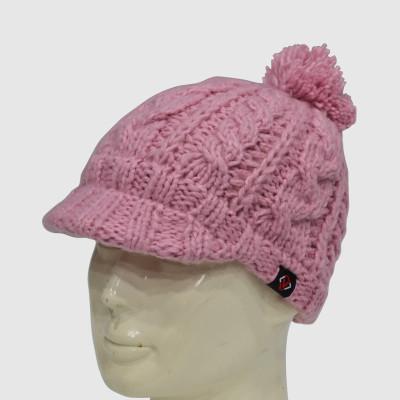 Pink Crochet Beanie With Brim