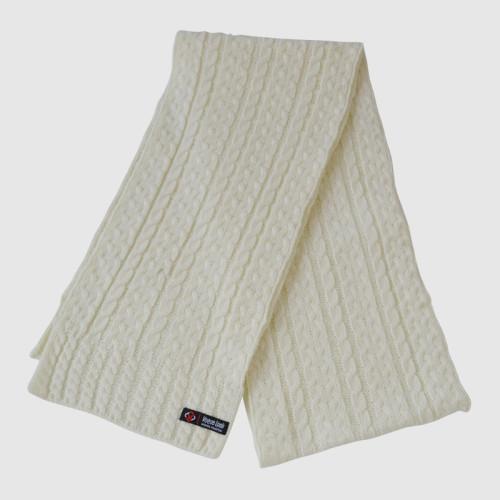 Beige Braided Pattern Knit Scarf