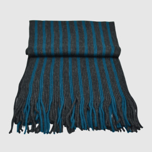 Blue/Black Acrylic Knit Scarf