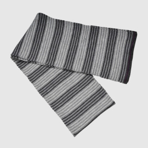 Gray Stripe Knit Scarf