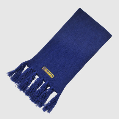 Blue Knit Scarf with Embroidery
