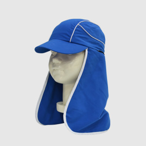 Blue Polyester Floppy Hat With Piping