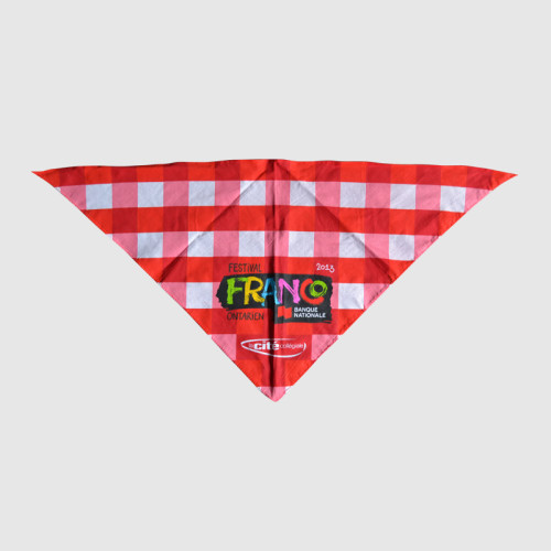 Red Cotton Triangle Bandana with Printing