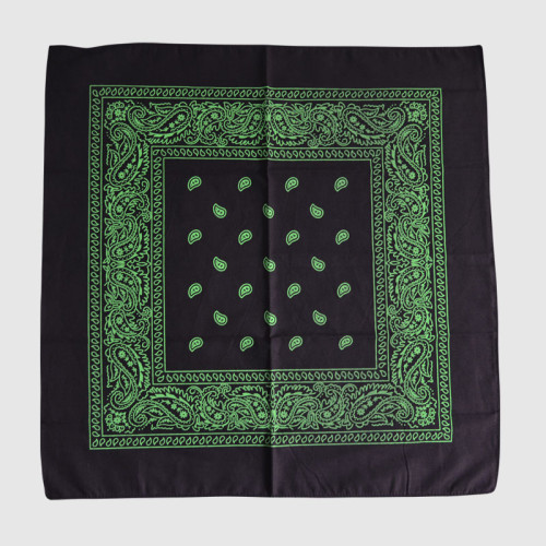 Black Bandana with Green Printing