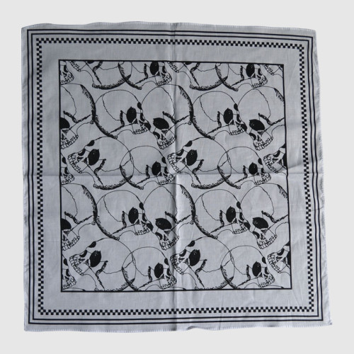 Gray Bandana with Skull Printing