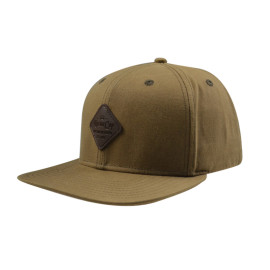 Army Green 6 Panel Camper Caps with PU Badge