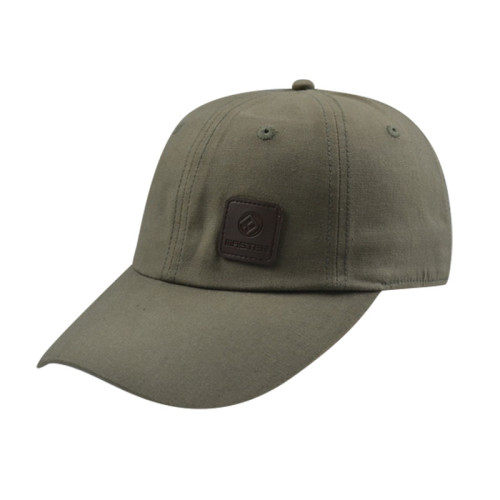 Army Green 6 Panel Bassball Caps with PU Badge