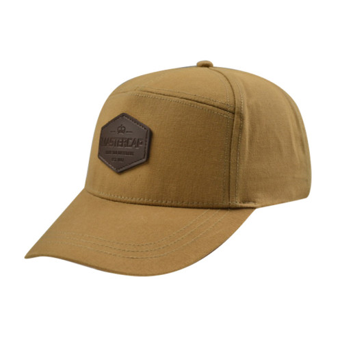 Khaki Performance Caps with PU Badge