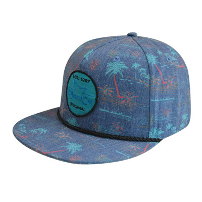 5 Panel Snapback Hat with Woven Label Logo and Ribbon
