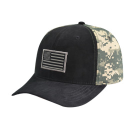 6 Panel Camo Cap with Woven Label edge rust Logo