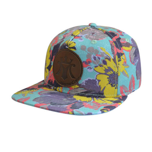 5 Panel Snapback Cap with PU Embossed Badge and Heat Tranfer Printing