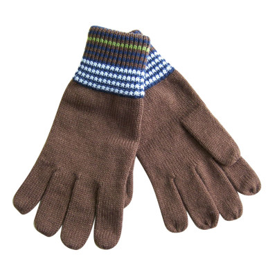 Brown Color With white Stripe Knit Gloves