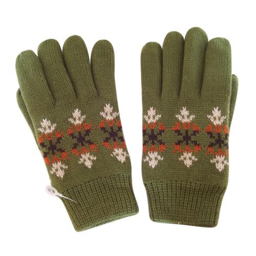 Green Jacquard Gloves
