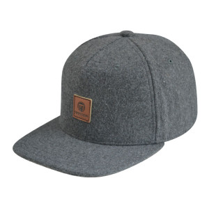 Custom Denim Fabric Snapback Cap with leather patch