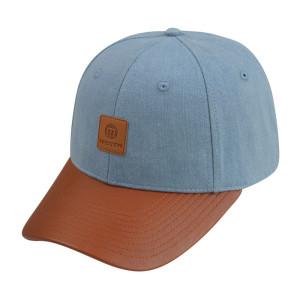 Custom Denim Fabric Baseball Cap with leather patch