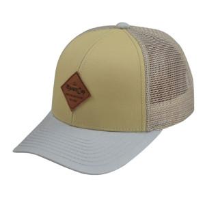 Custom hot sale embossed leather patch 6 panel cotton mesh trucker baseball cap