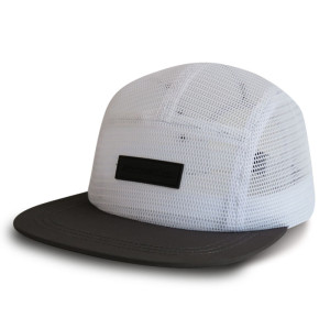Custom 5-panel Mesh champing cap Camper Cap with embossed leather patch