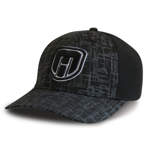 Black 6 panel Stretch-fit Cap with embroidery logo